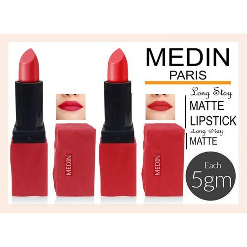 Medin super stone Waterproof Long Lasting matte lipsticks combo pack set of 2 color(Carrat Pink, 10 g)