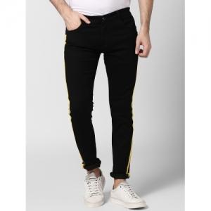 BUKKL Black Cotton Solid Slim Fit Denim Jeans