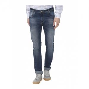 Mufti Blue Cotton Solid Super Slim Fit Jeans