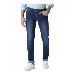 Park Avenue Blue Solid Tapered Fit Jeans