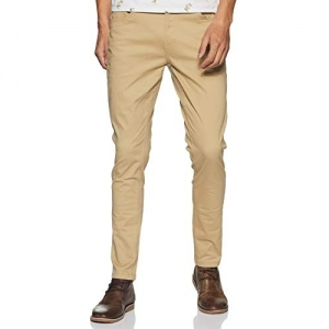 Max Beige Cotton Solid Slim Fit Casual Trousers