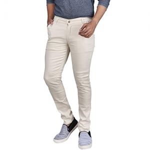 Generic White Silky Cotton Solid Slim Fit Casual Trouser