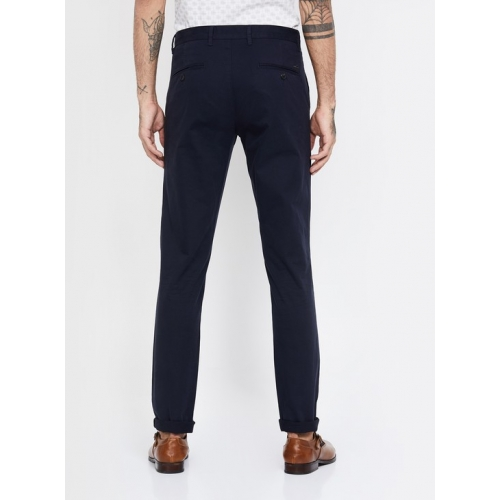 VH SPORTS Navy Blue Cotton Solid Slim Straight Chinos