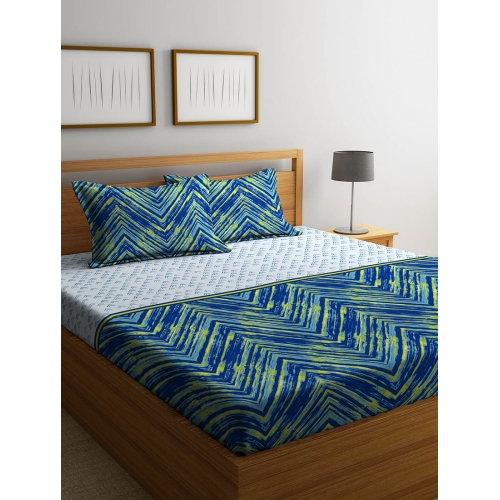 Stellar Home USA Blue Cotton Printed Double Bed Sheet with Two Pillow Covers Set