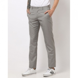 NETWORK Grey Polyester Solid Slim Fit Trousers