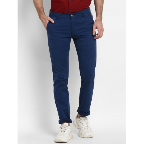Urbano Fashion Blue Cotton Solid Slim Fit Chinos
