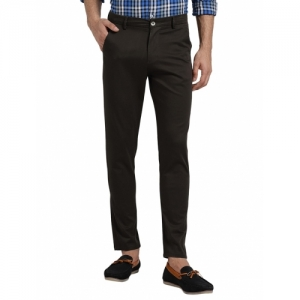 REALM Brown Cotton Solid Slim Fit Chinos