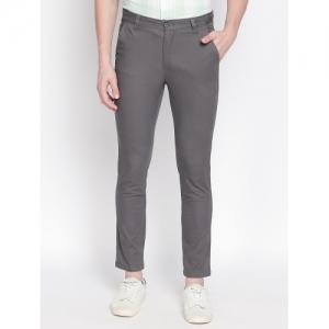 Solemio Grey Cotton Solid Slim Fit Chinos