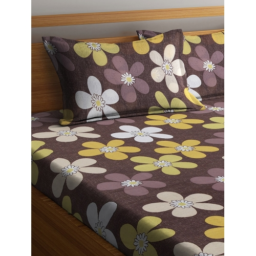 Cortina Brown Cotton Floral Double Bed Sheet with Two Pillow Covers Set