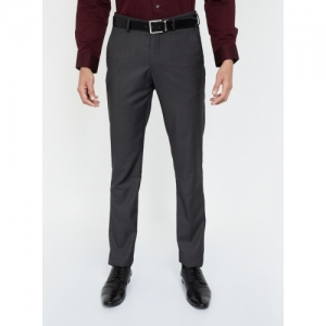 LOUIS PHILIPPE Black Terylene Solid Slim Fit Formal Trousers