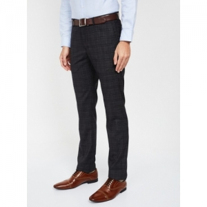 BLACKBERRYS Black Polyester Checked Slim Fit Formal Trousers