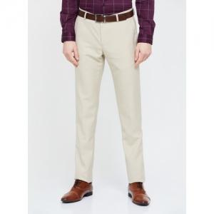BLACKBERRYS Beige Polyester Solid Slim Fit Formal Trousers