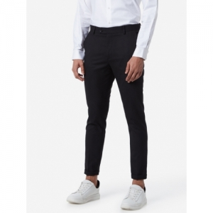 WES Formals by Westside Black Polyester Solid Formal Trousers