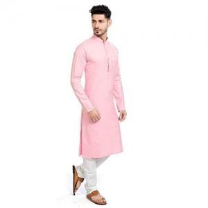 STYLEXA Pink Cotton Solid Straight Kurta Pyjama Set