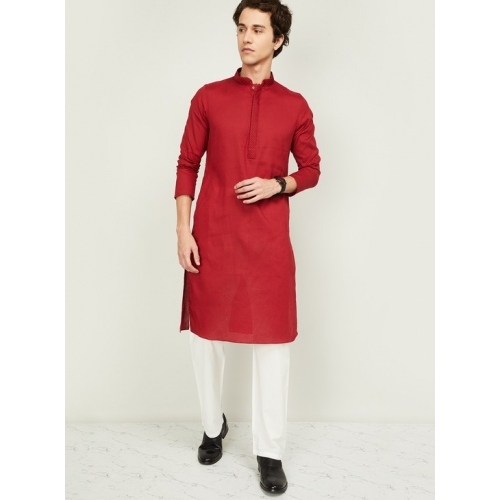 MANYAVAR Red Cotton Striped Regular Fit  Kurta with Pyjama