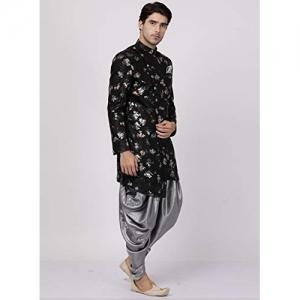 Vastramay Black Silk Floral Full Sleeves Sherwani