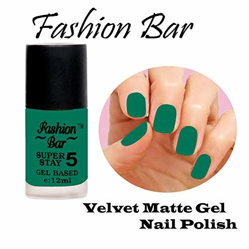 Fashion Bar Velvet Matte Gel Nail Polish White,Basecoat,Mauvish Red,Light Blue,Grey,Black