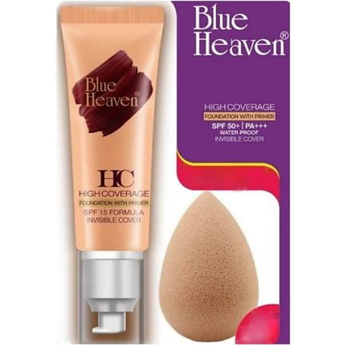 Blue Heaven High Coverage Foundation With Primer & SPF + Free Beauty Blender 50 ( Natural skin ) Foundation(Nude, 50 ml)