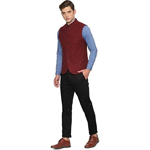 Dhingra Maroon Solid Slim Fit Nehru jacket