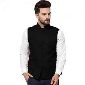 Vastraa Fusion Black Cotton Blended Solid Nehru Jacket