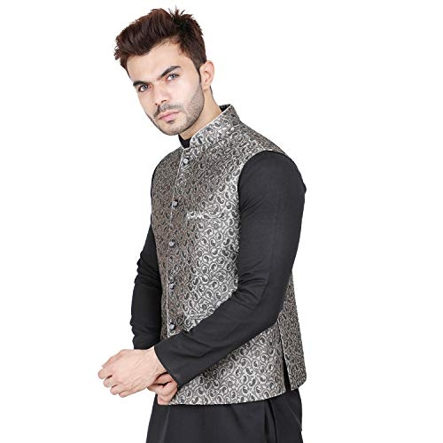 Badoliya & Sons Grey Cotton Paisley Regular Fit Nehru Jacket