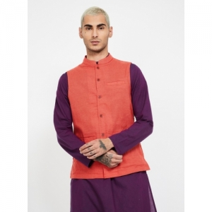 MELANGE Red Cotton Solid Sleeveless Ethnic Jacket