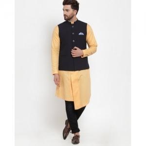 Maxence Black Polyester Solid Slim Fit Nehru Jacket