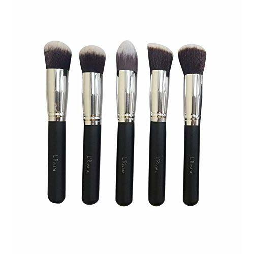 Preyansh 5 Piece Foundation Makeup Brush Set (Black + Silver)