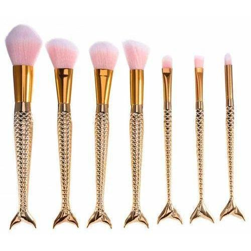 GenyFIC Fishtail and Fish Scales Model/Professional Makeup Brush Powder Blush Makeup Cosmetic Full Makeup Brush Set - Pack of 7 Pieces
