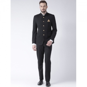 Hang Up Black Polyester Solid Bandhgala Suit