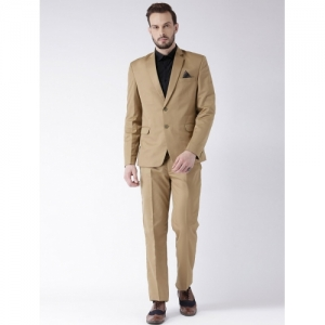 Hang Up Beige Polyester Solid Single Breasted Suit