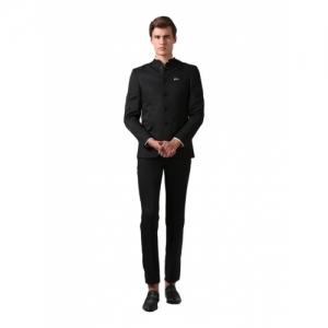 True Blue Black Rayon Solid Slim Fit Two Piece Suit