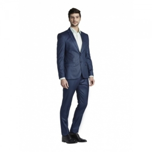 Parx Blue Polyester Solid Full Sleeves 2-piece Suit