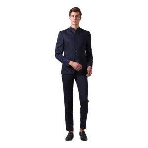 True Blue Navy Blue Rayon Solid Slim Fit Two Piece Suit