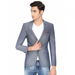 SUITLTD Blue Polyester Printed Single Breasted Blazer