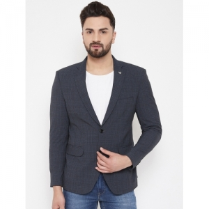Canary London Navy Blue Polyester Checkered Single Breasted Blazer