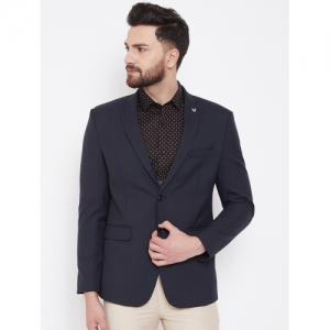 Canary London Navy Blue Polyester Solid Single Breasted Blazer