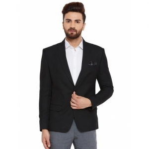 Canary London Black Polyester Solid single breasted Blazer
