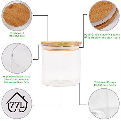 Food Storage Jar, 18.6 FL OZ (550 ML), 77L Glass Food Storage Jar with Airtight Seal Bamboo Lid - Modern Design White Glass Food Storage Canister for Serving
