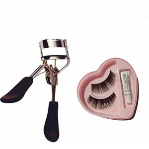 MAYU Eyelashes Curler And Artificial Bonjour Eyelashes With Glue, Parlour Accessories Combo For Women And Girls