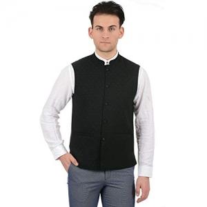 True Blue Black Poly Viscose Printed Sleeveless Waistcoat