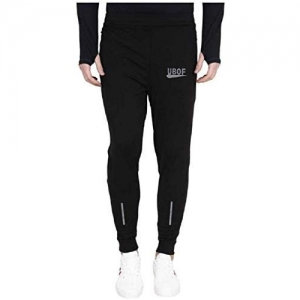Generic Black Lycra Solid Slim Fit Joggers