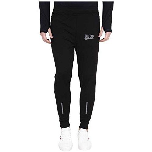 Generic Black Lycra Solid Slim Fit Joggers