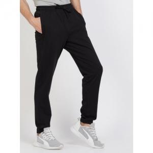 ADIDAS Black Cotton Solid Regular Fit Track Pants