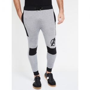 FREE AUTHORITY Grey Cotton Printed Elasticated Regular Fit Jogger