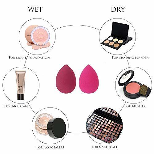 m j HM treading pro Blending Sponge: Black Makeup Blender 2pc Set - Latex Free Makeup Sponges for Stippling Foundation, Highlighting, Contouring with Liquid,