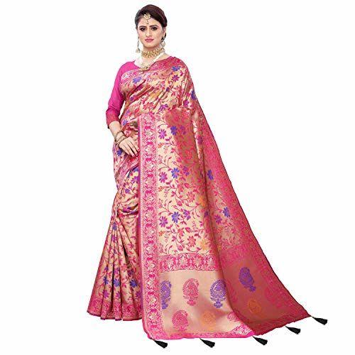 Being Banarasi Woven Self Design Embellished Paisley Banarasi Jacquard Saree (Pink)