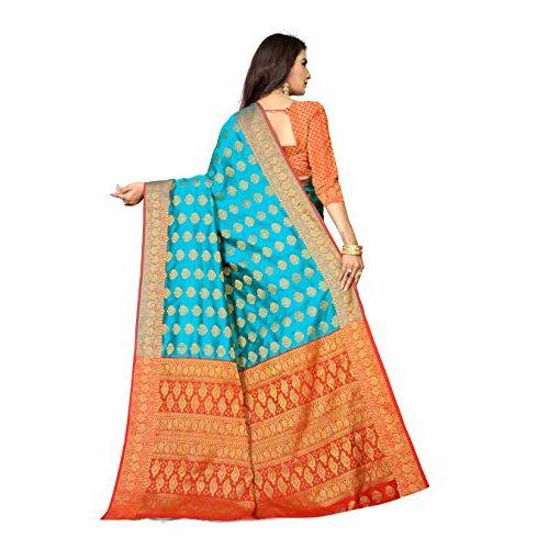 Anant Creation Women's Cotton Silk Banarasi Saree With Blouse Piece (Blue & Red) -05-AF-BR