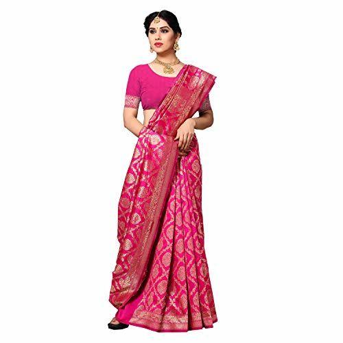 Sidhidata Textile Women's Kanjivaram Banarasi Jacquard Silk Saree With Blouse Piece (Silk Keri Pink_Pink_Free Size)