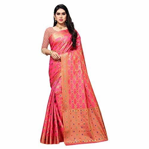 Foram Fashion Women's Banarasi Kanjivaram Silk Saree with Unstitched Blouse Piece(Pink)
